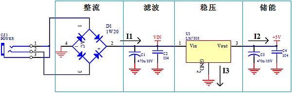 下图一是lm7805稳压电源电路原理图.